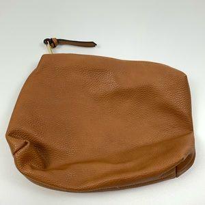 Steve Madden Tan Leather Zip Clutch Makeup Bag
